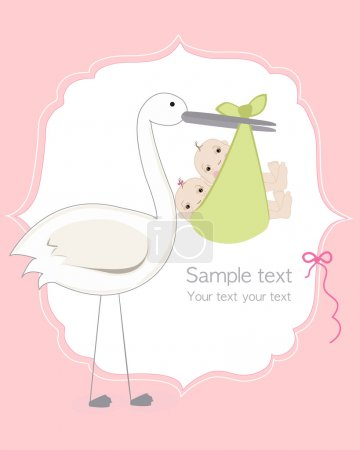 Illustration for Twin baby girl and boy with stork baby arrival card - Royalty Free Image