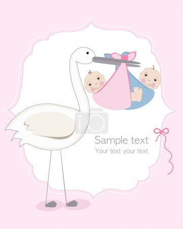 Illustration for Twin baby girl and boy with stork baby arrival greeting card - Royalty Free Image