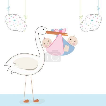 Illustration for Twin baby with stork, baby arrival card vector - Royalty Free Image