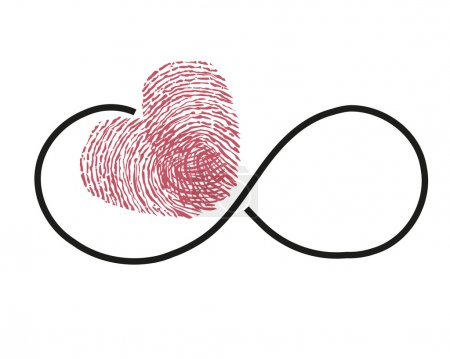 Eternity with red finger print heart vector