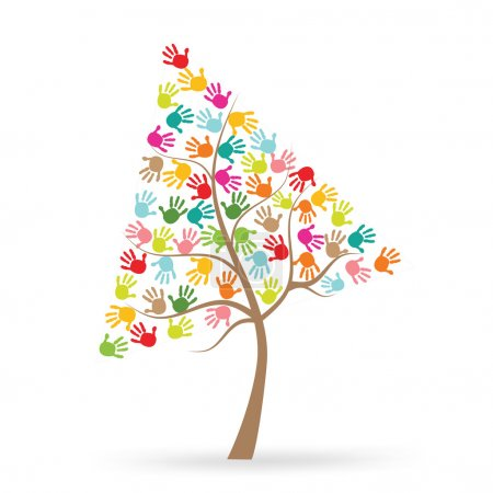Tree with colorful finger prints vector