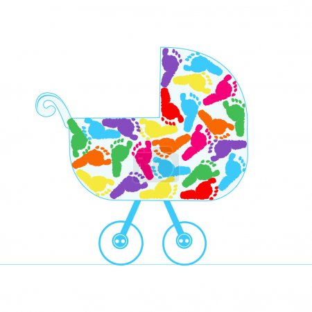 Baby stroller vector background with colorful baby foot