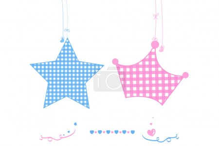 Illustration for Twin baby boy and girl star with crown baby arrival greeting card vector - Royalty Free Image