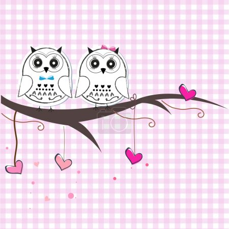 Illustration for Newborn twins baby with owl baby shower greeting card - Royalty Free Image