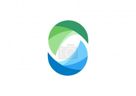 Circle, water, logo, elements, sphere, abstract infinity, letter C, company, corporation