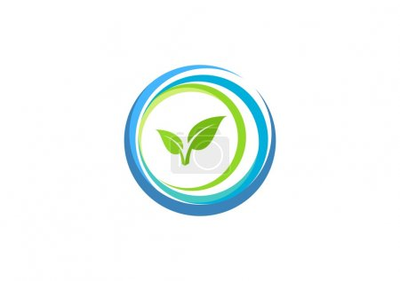 Circle element spring water ecology nature plant logo wellness health people design vector