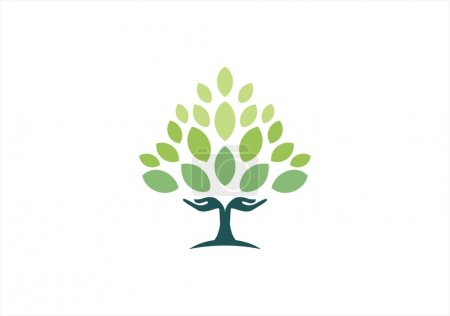 Illustration for Tree hand natural logo,wellness yoga health symbol icon design vector - Royalty Free Image