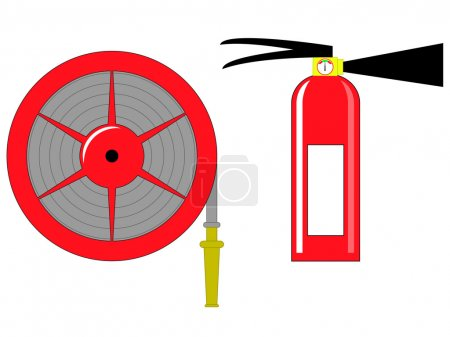 Fire hose reel and extinguishing vector illustration