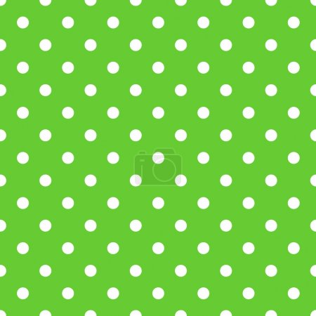 Illustration for Seamless green polka dot background pattern. Vector - Royalty Free Image