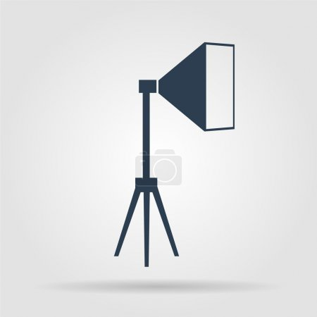 studio light icon, isolated, white on the blue background.