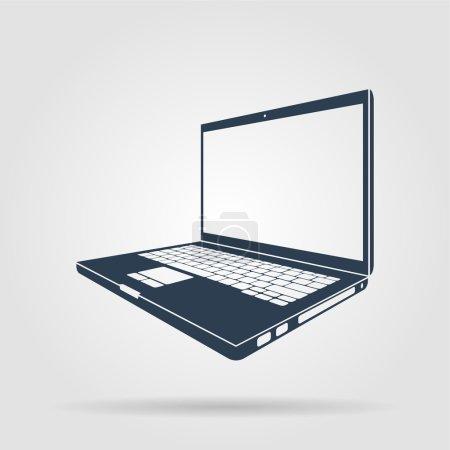 Illustration pour Illustration d'icône d'ordinateur portable. Illustrateur vectoriel plat Eps - image libre de droit