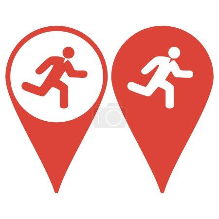Map pointer. man running icon
