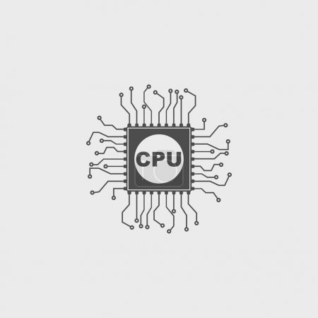 Illustration for Circuit board  icon. Technology scheme square symbol. - Royalty Free Image