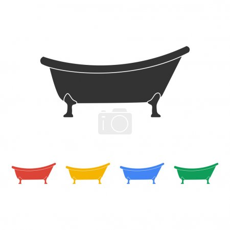 Bathtub Icon. Flat design style.