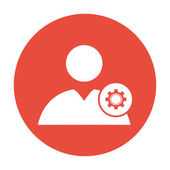 Gears icon, User icon. Flat design style.