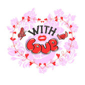 Cartoon lettering With love and trace of lipstick on floral backgroundGraphic Design - for t-shirt fashion prints