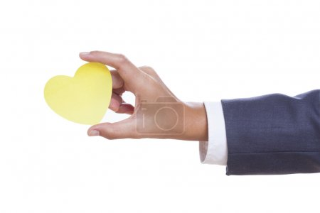 Photo pour Businessman hand holding paper heart, isolated on white background. - image libre de droit