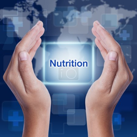 Nutrition word on screen background. medical concept