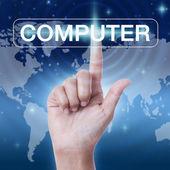 Hand drücken der Schaltfläche Computer