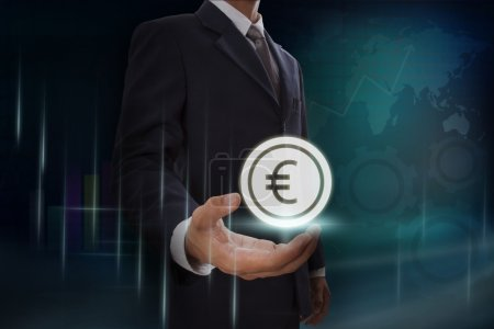 Businessman showing euro sign