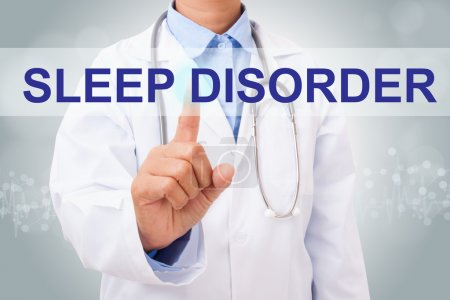 Photo for Doctor hand touching sleep disorder sign on virtual screen. medical concept - Royalty Free Image