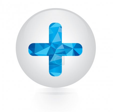 Vector - abstract blue plus icon. circular button