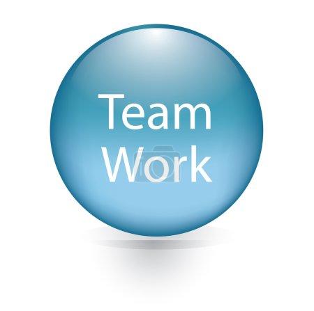 Team work word blue button