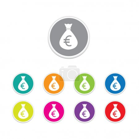 Vector - euro sign icon. Money bag symbol colorful buttons.
