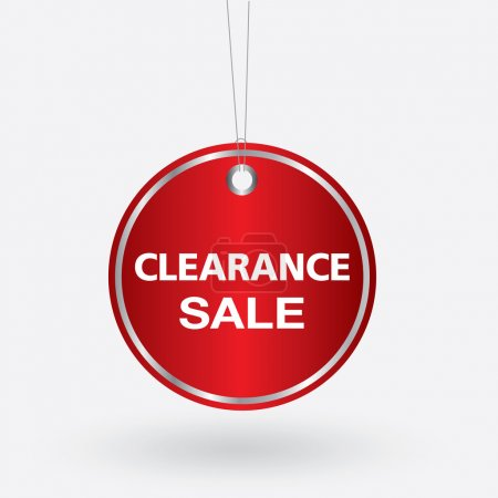 Red oval clearance sale tag. vector illustration