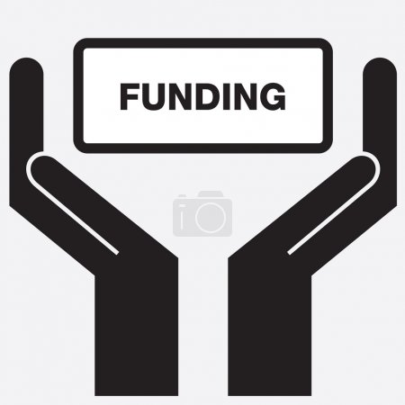Hand showing funding sign icon. Vector illustration.