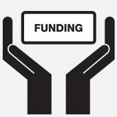 Hand showing funding sign icon Vector illustration