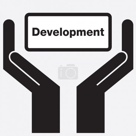 Hand showing development sign icon. Vector illustration.