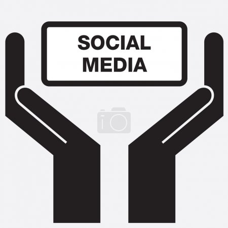 Hand showing free social media sign icon. Vector illustration.