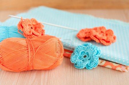 Handmade knitted crochet flowers
