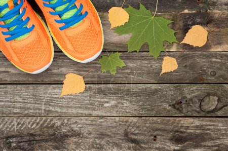 Sport shoes and autumn leaves on white wooden background. Top vi