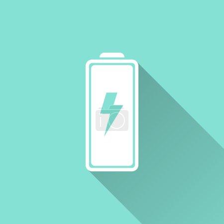 Illustration pour Icône de batterie sur fond vert. Illustration vectorielle, design plat . - image libre de droit