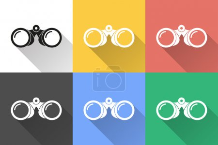 Illustration for Binoculars icon icon with long shadow, flat design. Vector illustration - Royalty Free Image