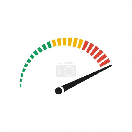 Speedometer - vector icon in black on a white back...