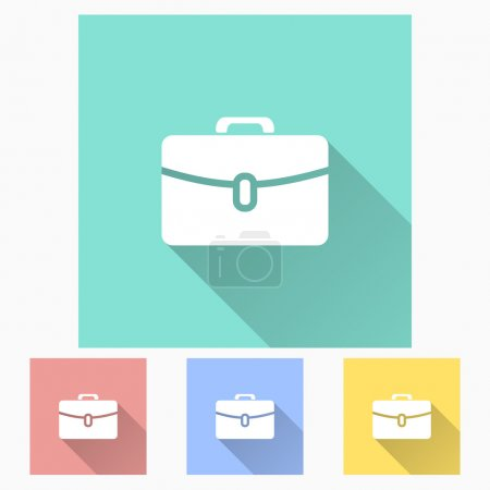 Illustration for Portfolio - icon is white with long shadow, flat design. Vector illustration. - Royalty Free Image