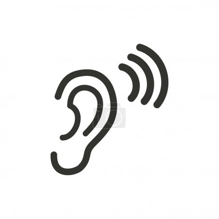 Illustration for Ear   icon  on white background. Vector illustration. - Royalty Free Image