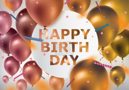 Illustration for Happy Birthday.Celebration background with colorful balloons and confetti - Royalty Free Image