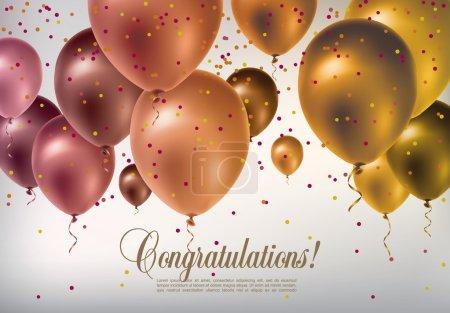 Illustration pour Fond avec ballons volants multicolores et confettis - image libre de droit