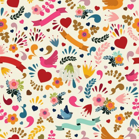Illustration for Cute seamless pattern with floral elements, birds and ribbons. Vector illustration - Royalty Free Image