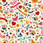 Cute seamless pattern with floral elements, birds and ribbons