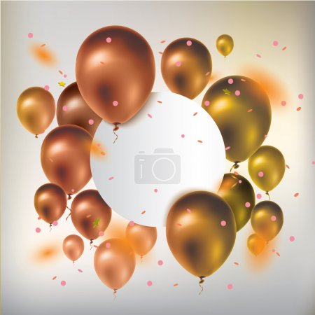 Illustration for Text box banner with gold balloons and confetti. Greeting card. Vector illustration - Royalty Free Image