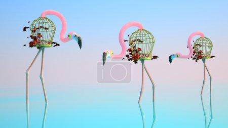 Flamingo Made of Birdcages