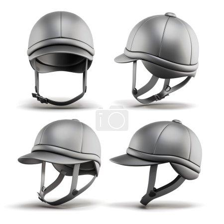 Photo pour Set de casque de jockey pour l'équitation sur un fond blanc. rendu 3D. - image libre de droit