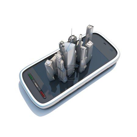 Photo pour Smart phone cartes mobiles et navigation Illustration 3D. Le concept de navigation sur votre téléphone . - image libre de droit