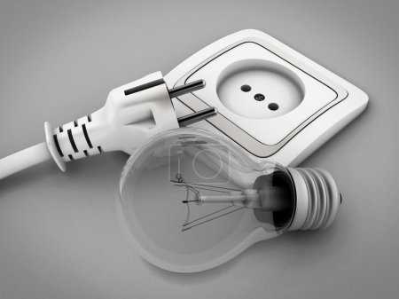 Photo pour Ampoule contre la prise électrique et une prise électrique. illustration 3D. - image libre de droit