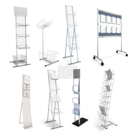 Set of various stands for promotional materials